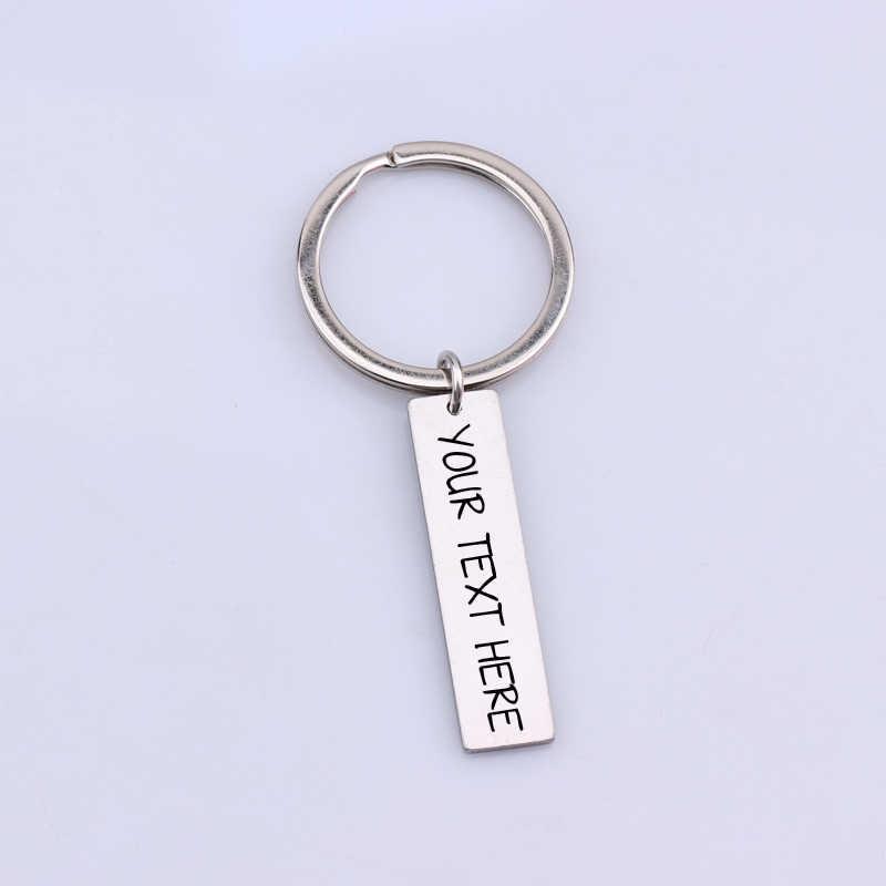 Personalizado pessoal 1 pçs gravado chaveiro carta de texto chaveiros presente diy para os homens da família amigos casais chaveiro jóias