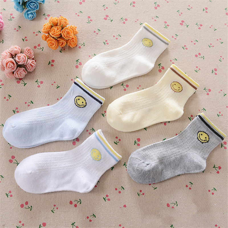 0-12Years Children Socks Summer Mesh Breathable Baby Boys Sport Sock 5pairs/Lot Stripe Cotton Girls Ankle Hose Anklets Kids Sox 15