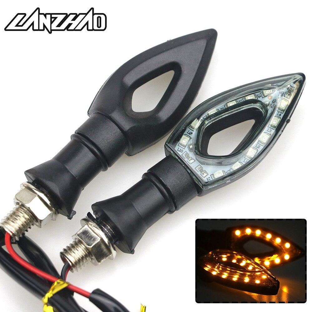 Universal Motorcycle LED Turn Signal Light Motorbike Turn Signals Indicators Flashers Blinkers Amber for Kawasaki Z900 Ducati