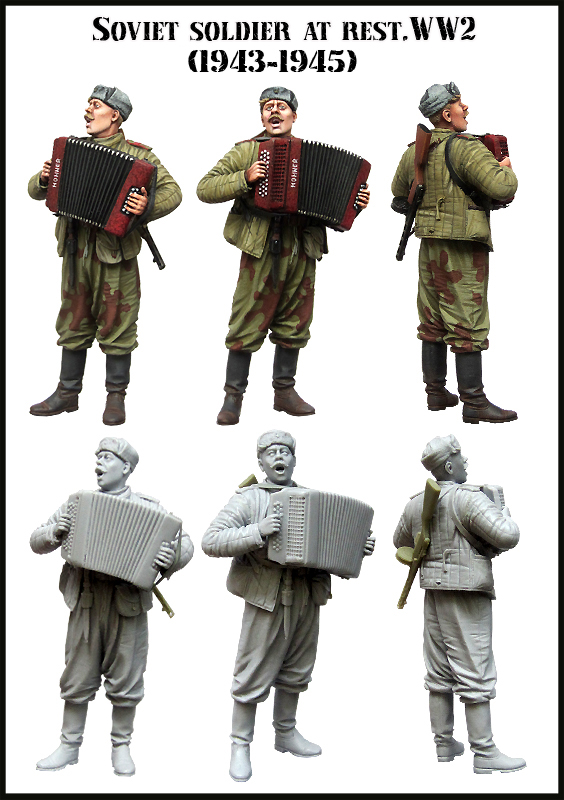 Scale Models 1 35 Soviet soldier at rest WW2 1943 1945  figure uncolor WWII Resin
