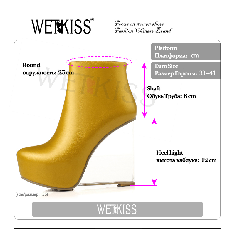 WETKISS Transparent Heels Shoes 2019 New Arrival Women Ankle Boots Round toe Side Zip Platform Fashion Boots Women Wedges Shoes