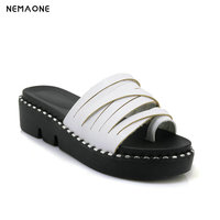 2019 New Erogenous Summer PU Leather Beach Cork Slippers Sandals Fashion Casual Clogs Women Non slip Flats Shoes