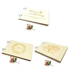 Свадебная книга для гостей Персонализированная Свадебная Гостевая книга для свадьбы альбом подарок для пары рустикальный подарок на свадьбу