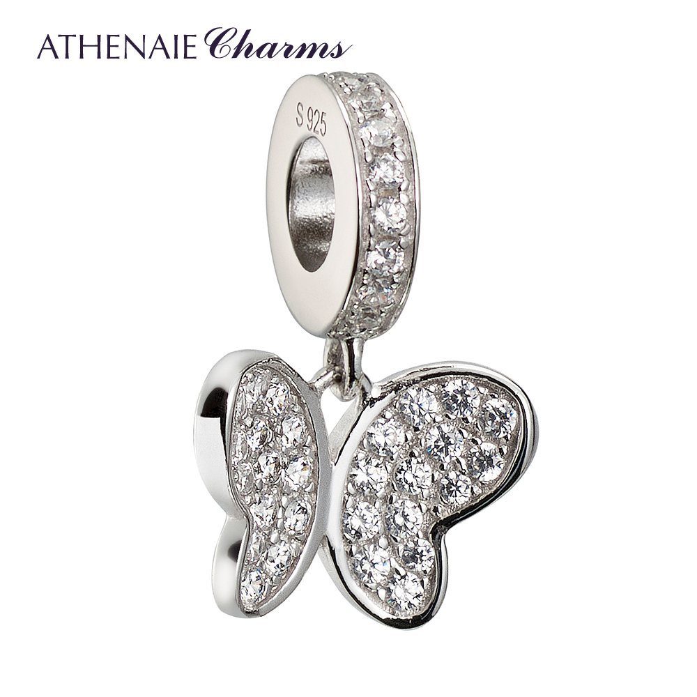 ATHENAIE 925 Silver with Pave Clear CZ Love Takes Flight Butterfly Pendant Drops Charms Fit All European Bracelets Jewelry