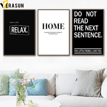 VERASUN Letter Nordic Poster Wall Art Print Canvas Painting Posters And Prints Black White Wall Pictures For Living Room Decor