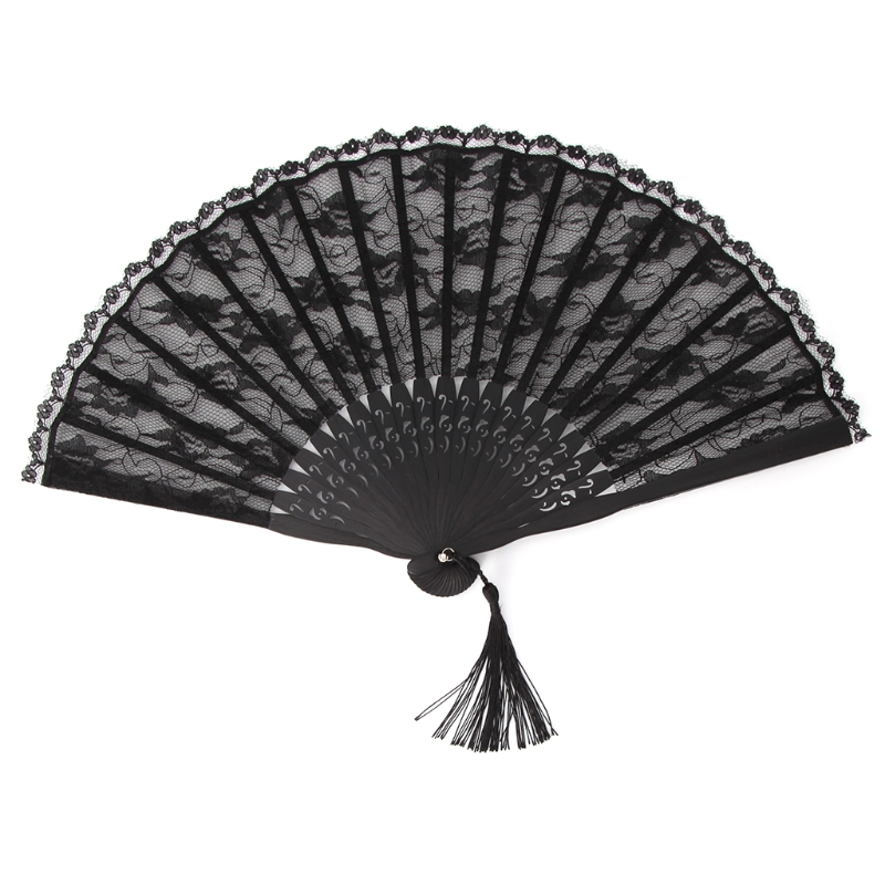 Lightweight Foldable Black Tassel  Lace Hand Held Folding Fans For Wedding Event And Party Supplies