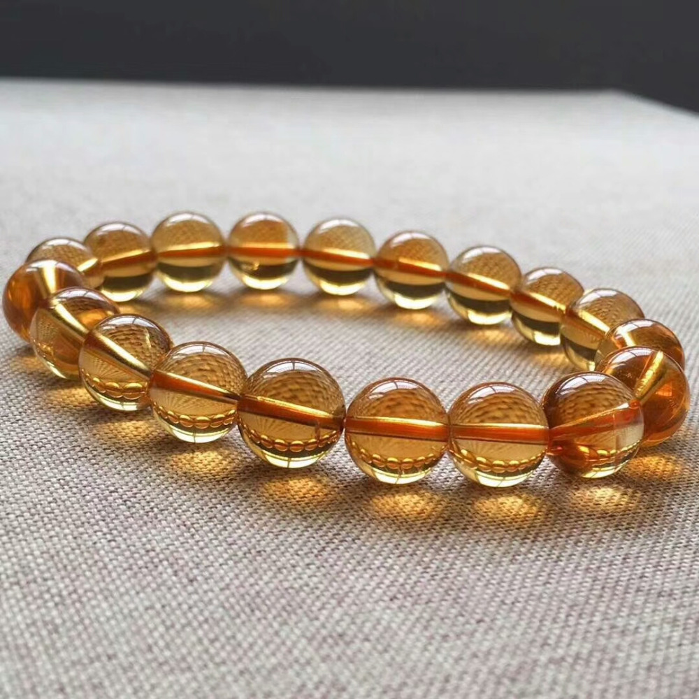 9mm Genuine Natural Yellow Citrine Quartz Crystal Bracelet Round Beads Gemstone Wealthy Stone Stretch Woman ManAAAAAA (5)