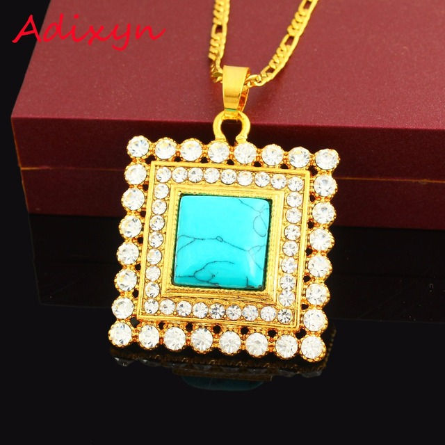 New ethiopian gold blue stone pendant necklace18k gold color crystal new ethiopian gold blue stone pendant necklace18k gold color crystal jewelry african arabic middle east desigh aloadofball Image collections