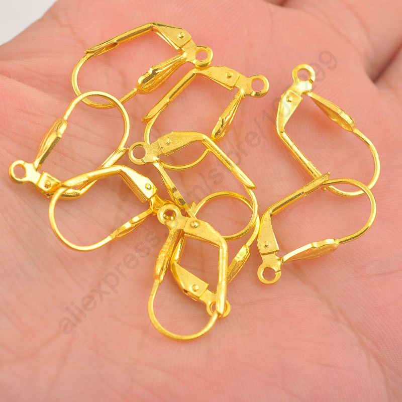 JEXXI Good Quality 200pcs Semicircle Gold color Flexible Hook Earrings Earwires Woman Jewelry Lever Back Accessories Findings ...