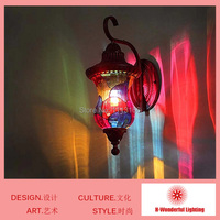 High Quality Classical Style LED Indoor Bedside Wall Lamps Art Iron And Stained Glass Cover Wall