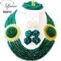 Verde del ejército de Las Mujeres Elegante Grano Cristalino nigeriano boda perlas africanas joyería conjunto ABD120