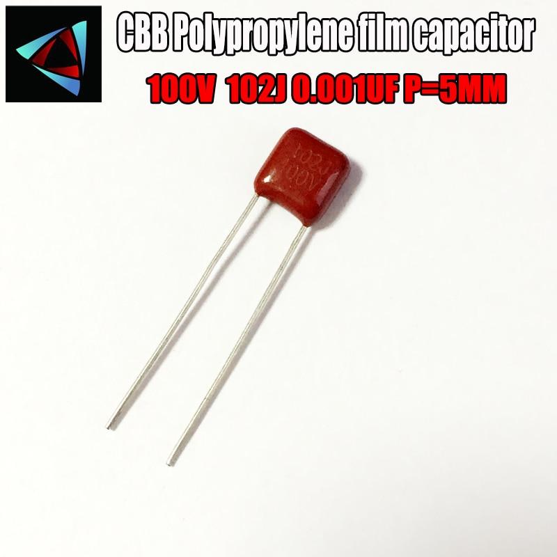 50PCS 100V 102J 0.001UF P=5 Polypropylene Film Capacitor Pitch 5mm