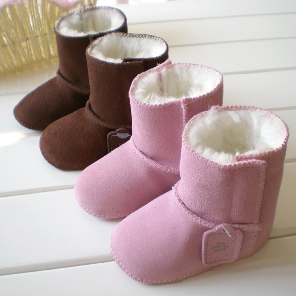 Hot selling! Natural Fur Leather Prewalkers Baby Snow Boots Infant Shoes Pink Brown Keep Warm Kids Shoes Winter First Walkers
