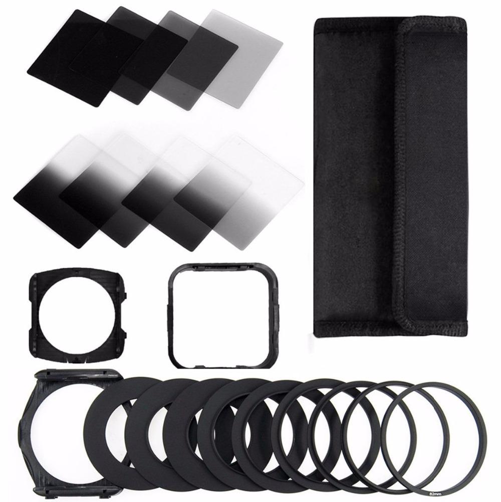 Prix pour Zomei 21in1 Kit de Filtre Carré pour Cokin P Série 83x95mm Plein et Terminé ND2 ND4 ND8 ND16 + Porte-filtre + Capot + 49-82mm Adaptateur Anneau