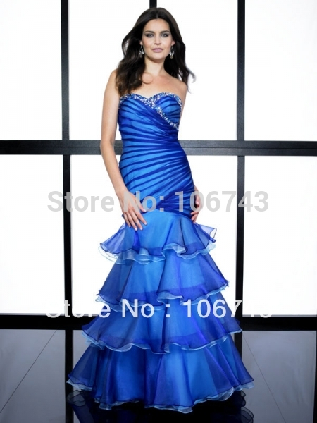 free shipping 2015 blue Mermaid best seller new style Sexy brides maid Custom vestido tiered cross sweetheart long prom dress