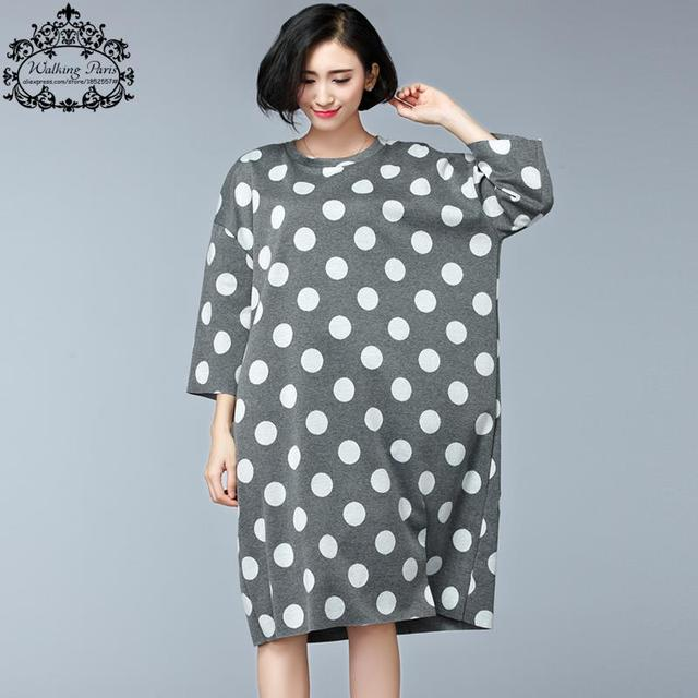 Plus Size Women's Dresses Knitting Big Size Cotton Clothing O-Neck Polka Dot Casual Dress Autumn Warm 3XL 4XL Fashion Tops&Tees