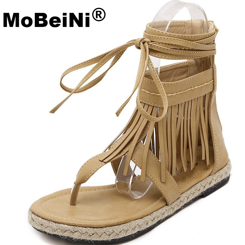 MoBeiNi Summer Roman Sandals Knee High Strappy Hemp Rope Woven Platform Women Tassel Sandals Gladiator Leather Shoes Woman 2017 summer women shoes platform wedges sandals high heels woman casual shoes fashion hemp rope rivet punk roman gladiator shoes