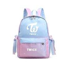Gradient Color Kpop TWICE Momo Mina Canvas School Bags Laptop Backpack Kawaii Travel Backpack Pink Bagpack Mochila Feminina 2019