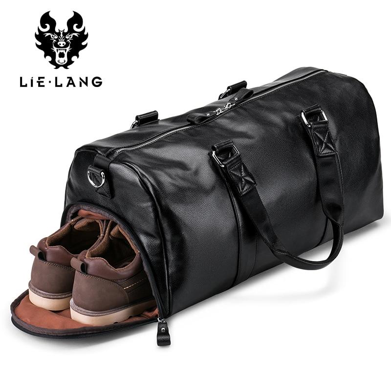 LIELANG Men's Black Handbag Travel Bag Waterproof Leather Large Capacity Travel Duffle Multifunction Tote Casual Crossbody Bags