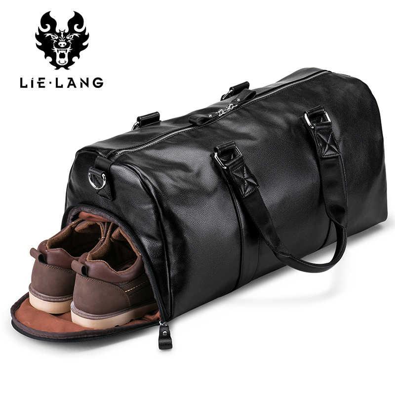 LIELANG erkek siyah çanta seyahat çantası su geçirmez deri büyük kapasiteli seyahat Duffle İşlevli Tote rahat Crossbody çanta