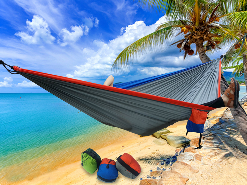 F Portable Nylon Parachute Double Hammocks Garden Camping Travel Furniture Swing Sleeping Bed Hammock for Xmas Gift 275*175cm thicken canvas single camping hammock outdoors durable breathable 280x80cm hammocks like parachute for traveling bushwalking