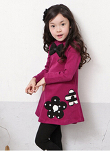 Casual Dress Girls Girl Clothes Fashion Long Sleeve Bow Turtleneck Winter Warm