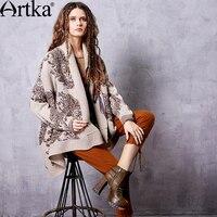 ARTKA Women's Autumn New Warm Cardigan Vintage Scarf Collar Bat Wing Sleeve Soft Knitwear WB12061Q