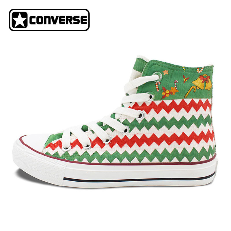 Sneakers Men Women Christmas Theme Socks Original Converse All Star Women Men Shoes Hand Painted High Top Canvas Shoes Gifts men women converse puerto rico flag hand painted artwork high top canvas shoes unique sneakers