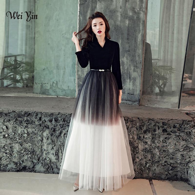 weiyin 2019 Black Velour Long Sleeves A-Line   Evening     Dresses   V-neck Elegant Arabic Muslim Long Prom Formal   Dresses   WY1147