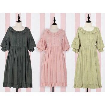 0777a13e8 Lolita vestido dulce lindo Puff manga japonesa Kawaii niñas princesa Maid  Vintage rosa verde mujeres verano falda arco cuello redondo