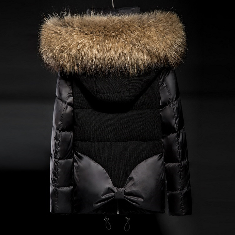 Soperwillton 2018 Luxury Large Raccoon Fur Hooded Coat Slim Puffer Jacket Thick Warm Outwear Padded Women