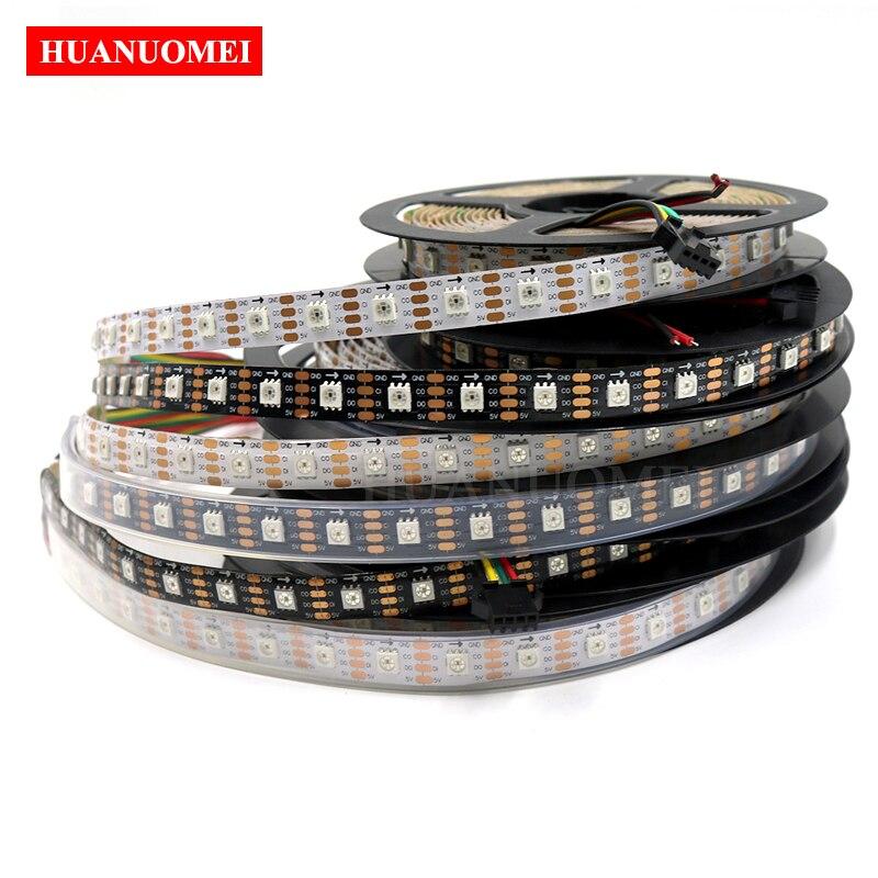 5M 60LED s/m HD107S (similaire APA102/APA107) bande LED numérique lumière, avec HD107S IC intégré 5050 SMD RGB LED; blanc/noir PCB, DC5V