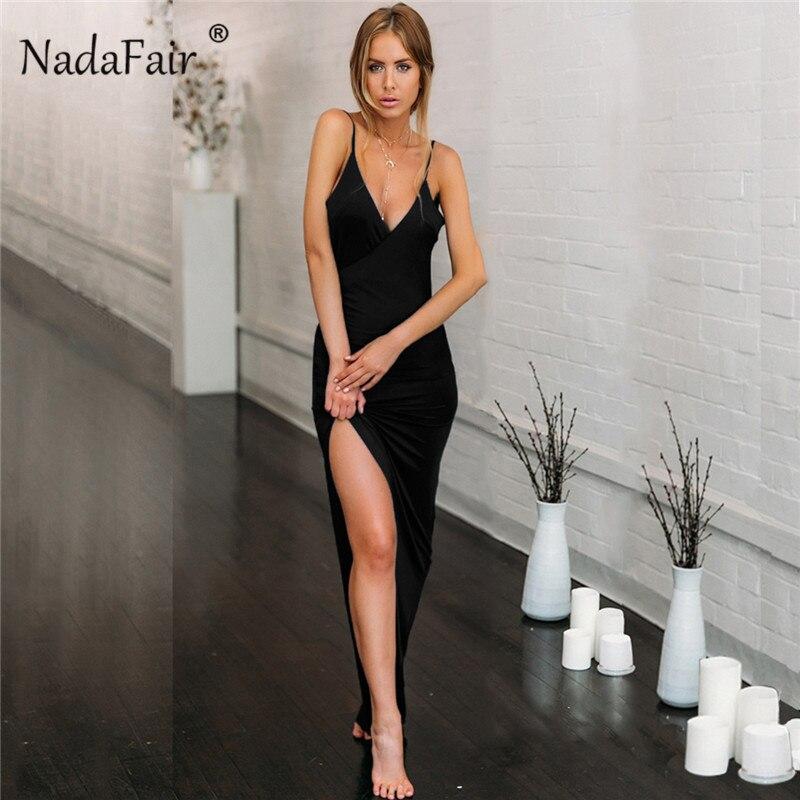 Nadafair Deep V Neck Party Maxi Dress Women Backless High Split Spaghetti Strap Long Bodycon Club Sexy Dress Summer Vestidos Red