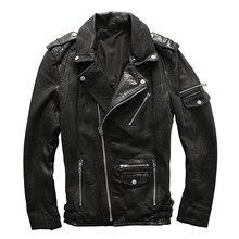 2017 мужские черные кожаные мотоциклетные куртки косой молнией Slim Fit мужские зимние кожаные байкерская куртка фабрики XXL Бесплатная доставка