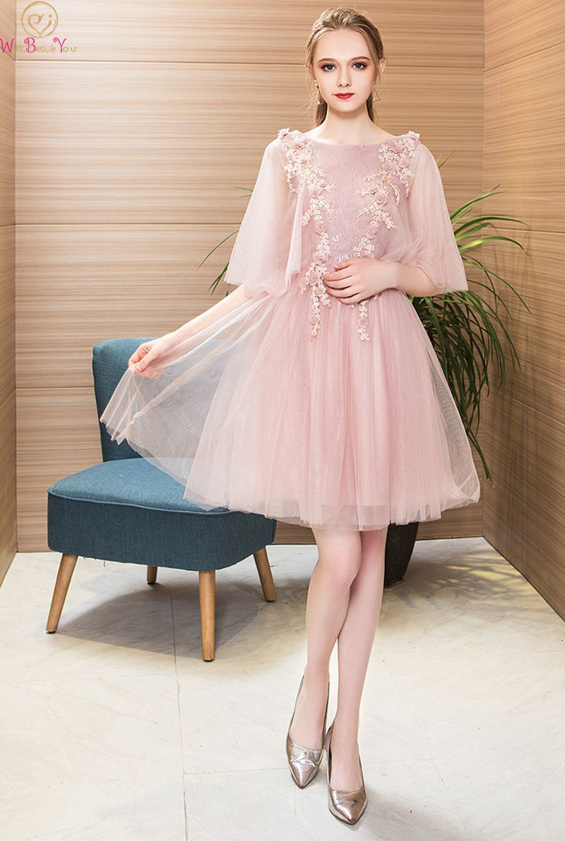 2019 New Illusion Half Sleeve Short Prom Dresses Backless Lace Up Appliques Elegant Pink Formal Evening Gowns WALK BESIDE YOU