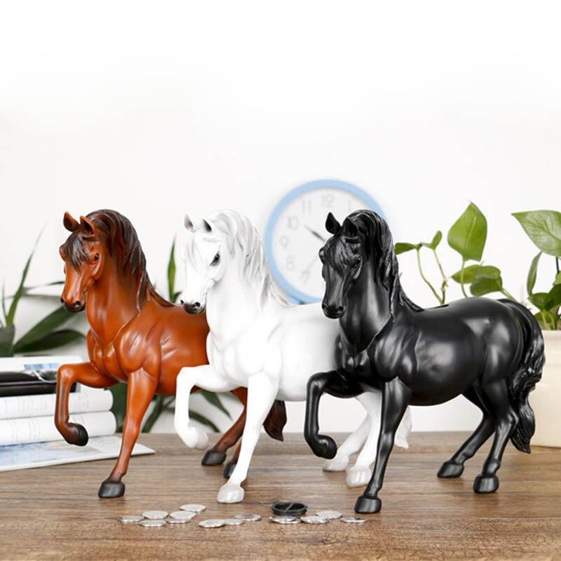 New resin horse statue piggy bank retro simulation horse statue jewelry crafts money box safe home
