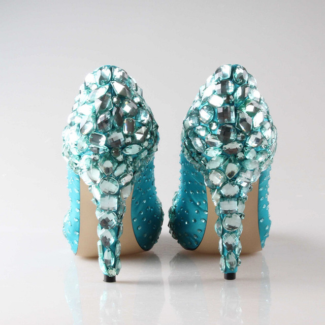 handmade aqua blue turquoise crystal wedding shoes bridal party prom graduation high heel hand sewn crystals