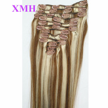Virgin Remy Hair Clip In Human Hair Extensions 12pcs/set 20inch Full head Set mixed Colors #6/60,130g/set Clip on Human Hair
