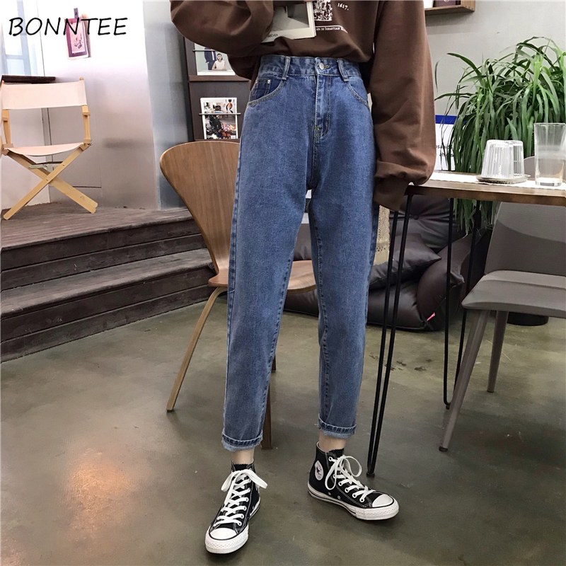 Jeans Women Trendy Elegant All-match High-quality Korean Style Pockets Leisure Daily Womens Female Lovely Simple 2019 Loose New