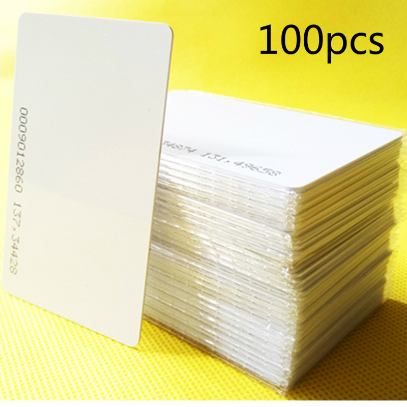 Hot Sale 100pcs/lot rfid card 125khz TK4100 blank smart card EM4100 ID pvc card with UID series number for access control system 200pcs box 125khz white id inkjet printer pvc card rfid proximity smart card with serial number