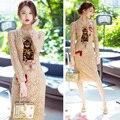 2017 primavera outono nova marca de moda temperamento longa seção de slim lace dress lace vestidos bordados cat lantejoulas dress mulheres