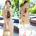 2017 spring autumn new brand fashion temperament Slim long section lace dress Lace dresses Embroidered cat sequins  dress Women