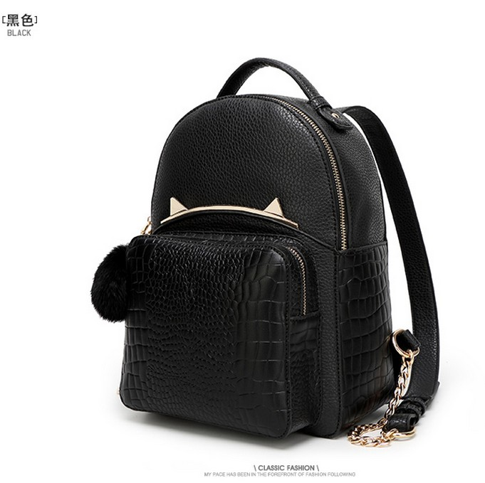 2016 women backpack 3D cat wind leather case and a college travel patterns fashion street snap backpack backpack teenage girls a cat a hat and a piece of string