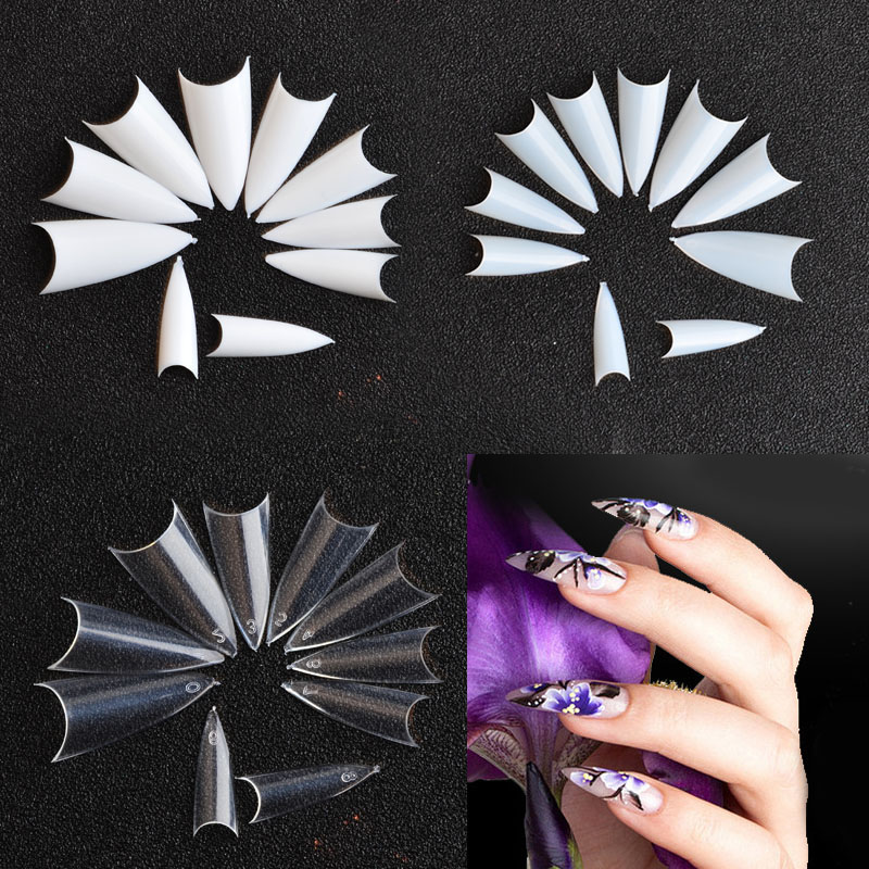 500pcs pack Long Sharp Stiletto False Acrylic Nail Art Tips Artificial Half Cover Fake Nails in False Nails from Beauty Health
