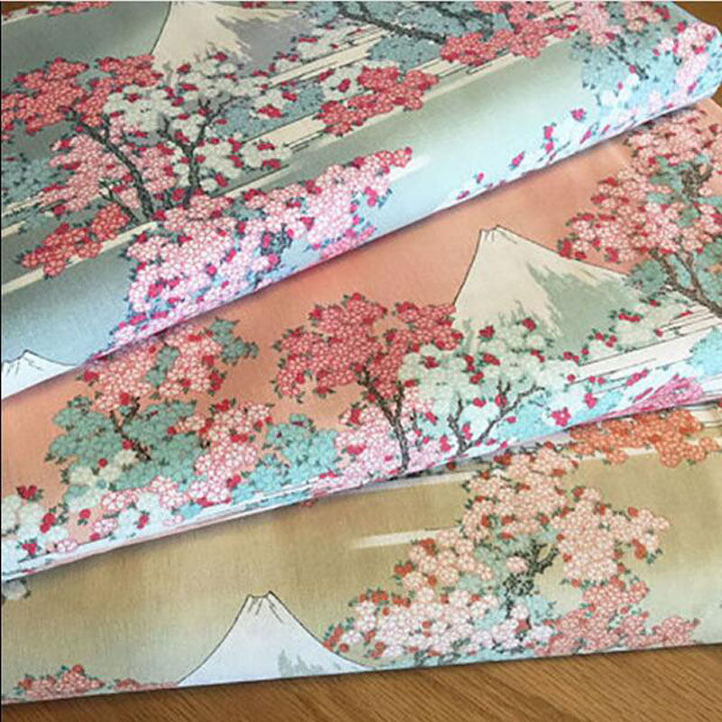 Wide 140cm Stretch Japanese Cotton Poplin Fabric Mount Fuji Cherry Blossom Print Cotton Fabric Sewing Patchwork DIY Girl Dress image