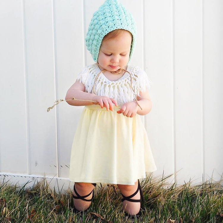 BOHO Baby Girls Tassel Dress Solid Toddle Kids Dresses INS Hot Girls Summer Clothes Free Shipping
