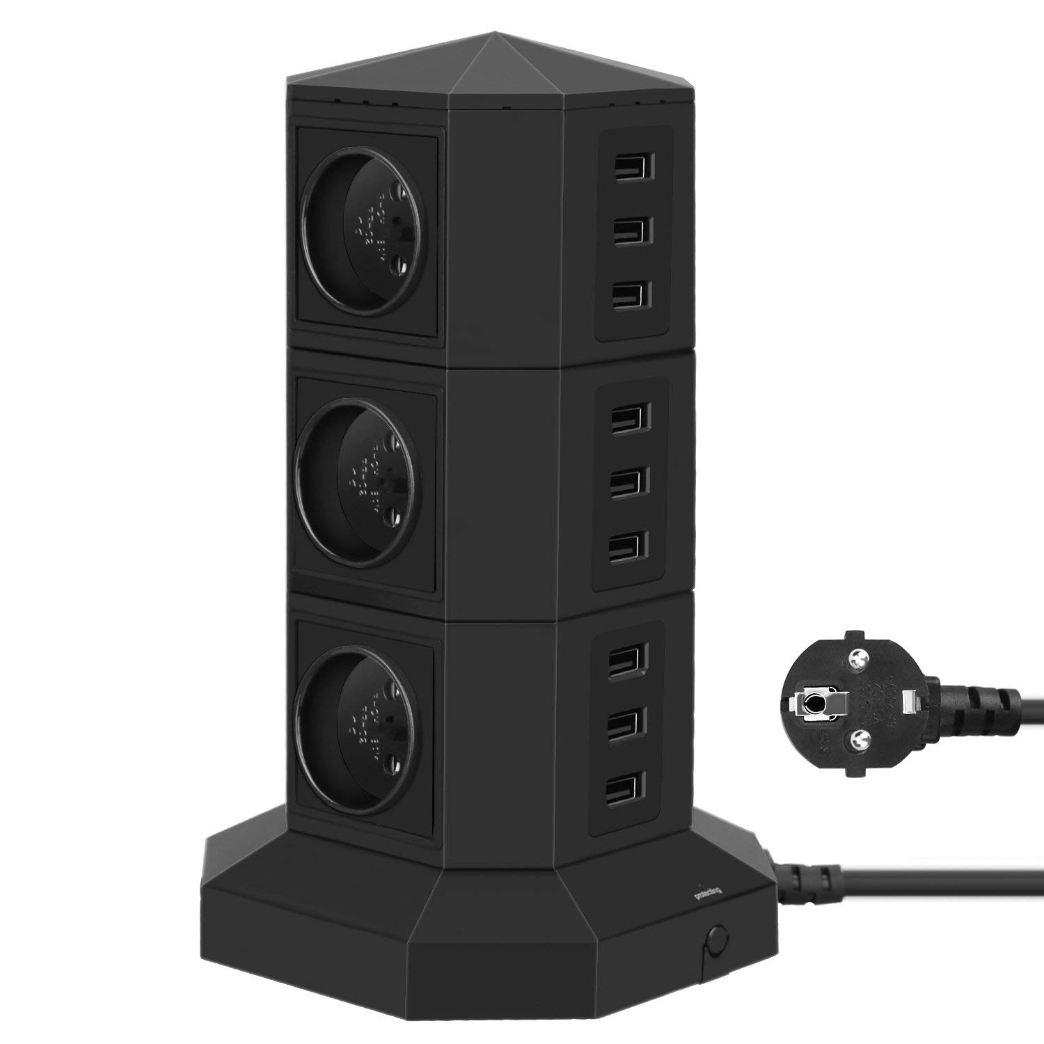 цена на USB Power Strip Surge Protector Multiple Socket 6-Way EU Outlets,9 USB Ports,Single Switchable Tower with 2m Extension Cable