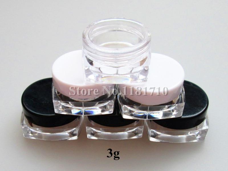 Fedex DHL free 504pcs lot 3g square cream jar 3cc cosmetic container plastic bottle display bottle
