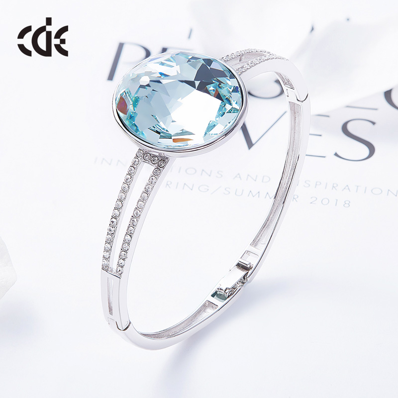 CDE Crystals from Swarovski Genuine 925 Sterling Silver Round Rhinestone Bracelet&Bangle For Women Charms Fine Jewelry Gift trendy letter heart round rhinestone bracelet for women