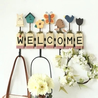 Pastoral American country wooden crafts hooks home decorations ornaments welcome to the wall decoration